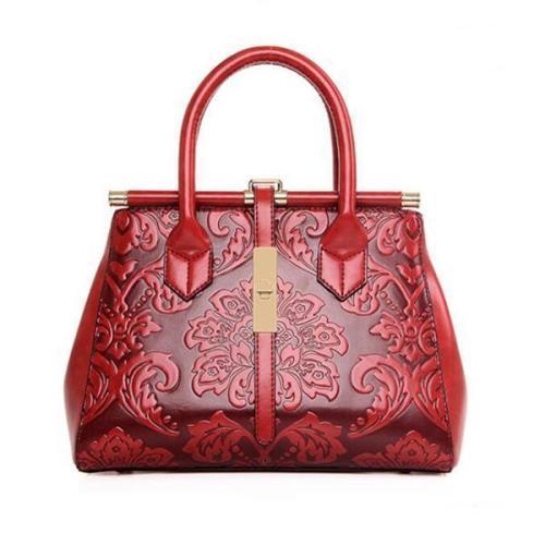 Women PU Leather Retro Embroidery Handbag