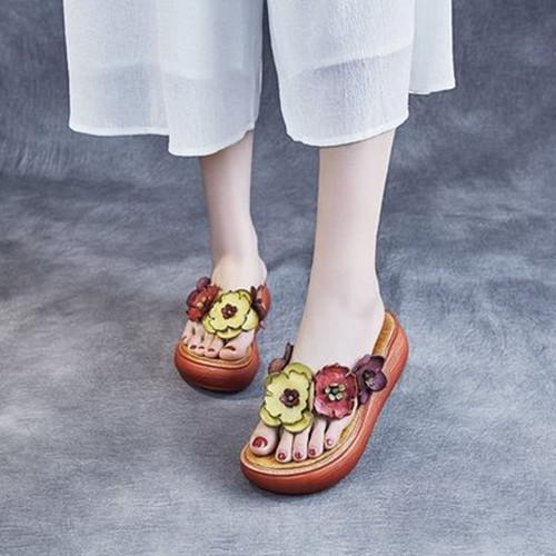 Women Bohemia Pu Flower Flip-flop Platform Heel Sandals