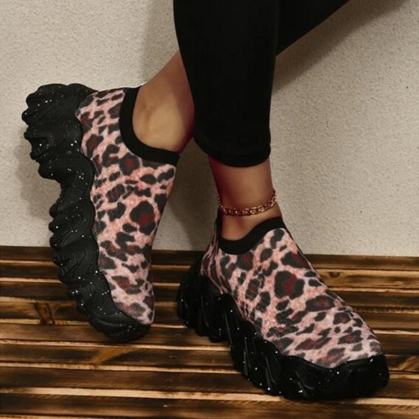 Women's Fashion Print Thick Sole Flying Knit Sneakers