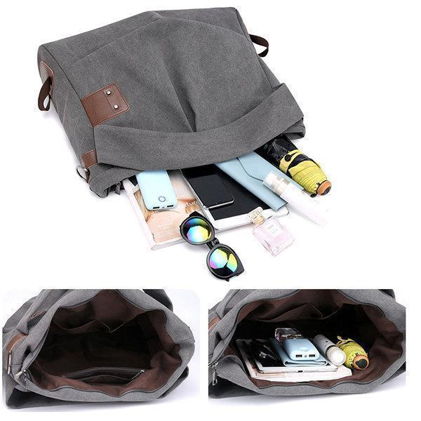 KVKY Canvas Casual Large Capacity Tote bag Crossbody Bag