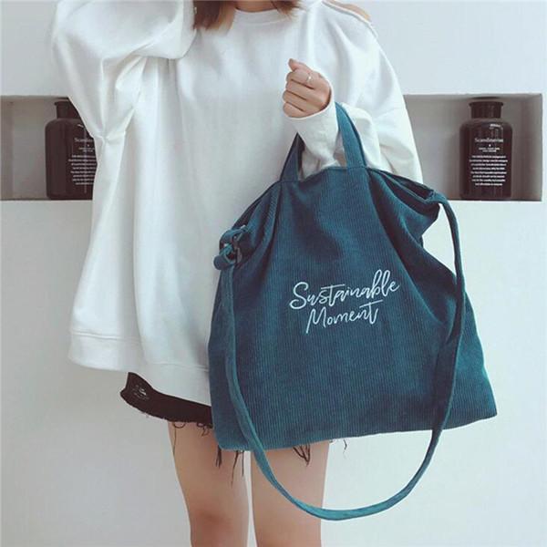 Women Retro Corduroy Zipper Tote Bag Handbag Shoulder Bag