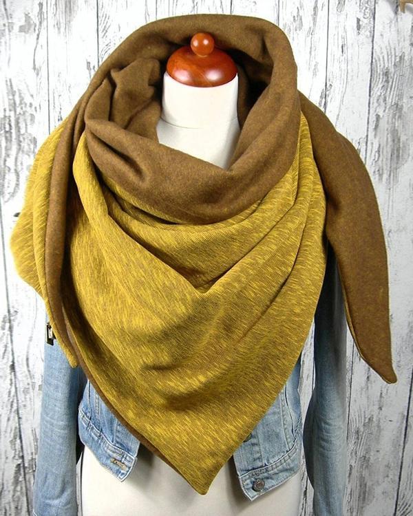 Women Solid Color Scarf Shawl Wrap Multi-purpose Neck Wrap Yellow Scarf