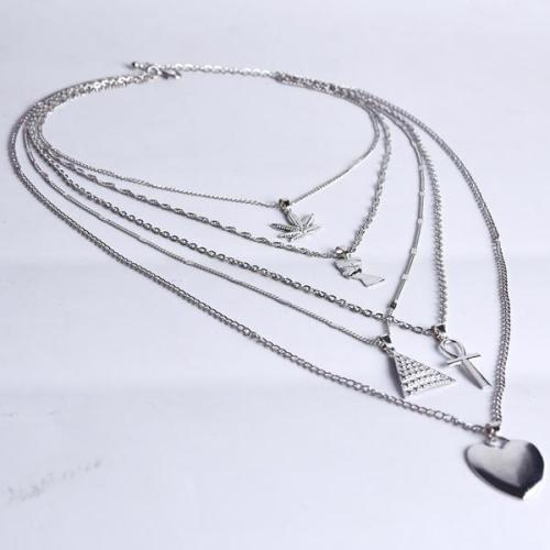 Pharaoh Leaf Cross Heart Layer Necklace