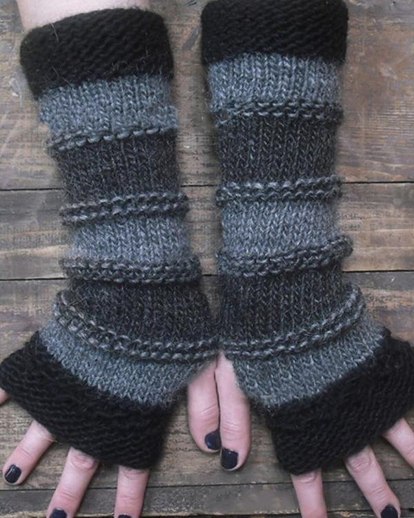 Autumn Winter Casual Basic Stripe Knitted Gloves