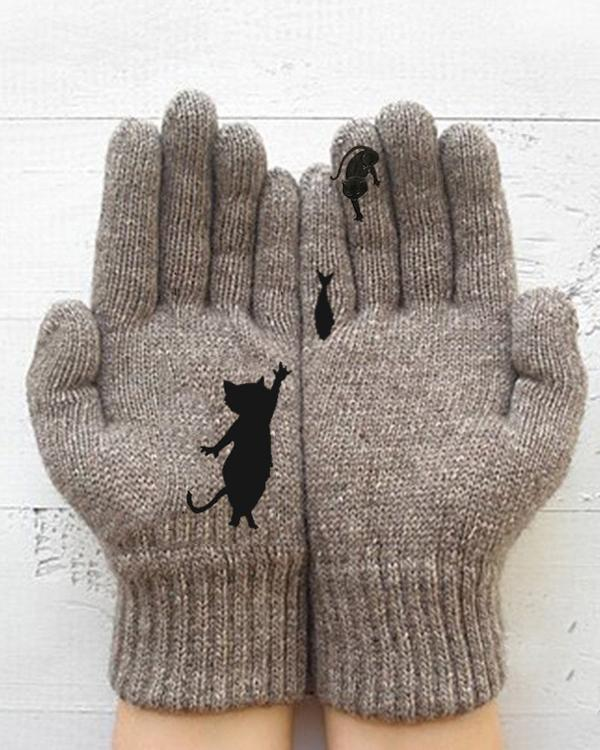 Cat and Fish Polyester Gloves