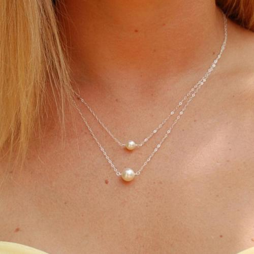 Jewelry-Chic Double Lay Pearl Necklace