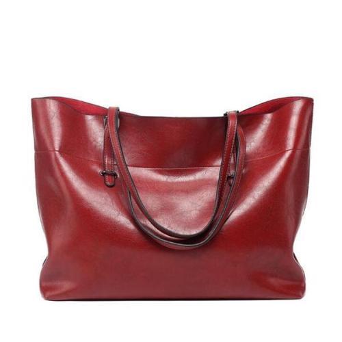 Women Leather Casual High Capacity Handbag Shopping Bag