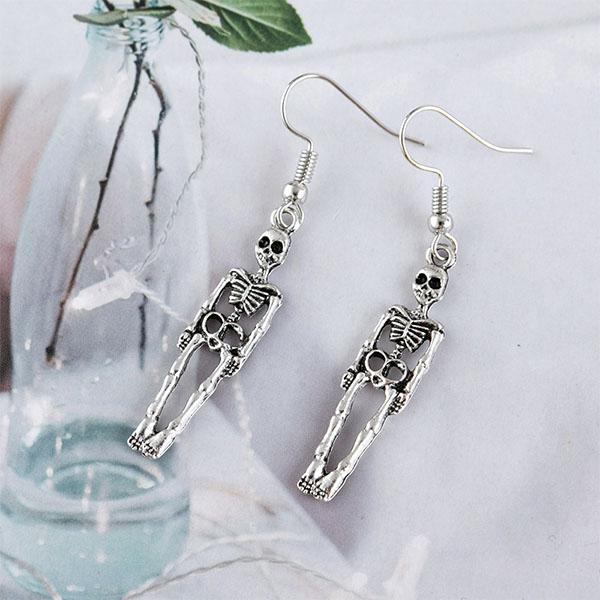 Vintage Earrings For Women Halloween Goth Earings Punk Jewelry Skeleton Skull Dangle Drop Earring