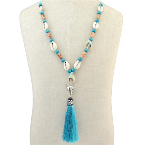 Melierte Lannge Halsktte Mit Quaste Shell long tassel necklace
