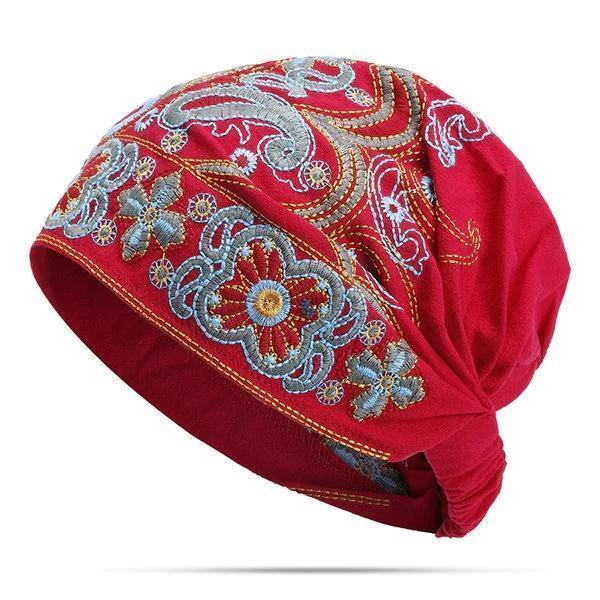 Women Embroidery Ethnic Cotton Beanie Hat Vintage Good Elastic Breathable Summer Turban Caps