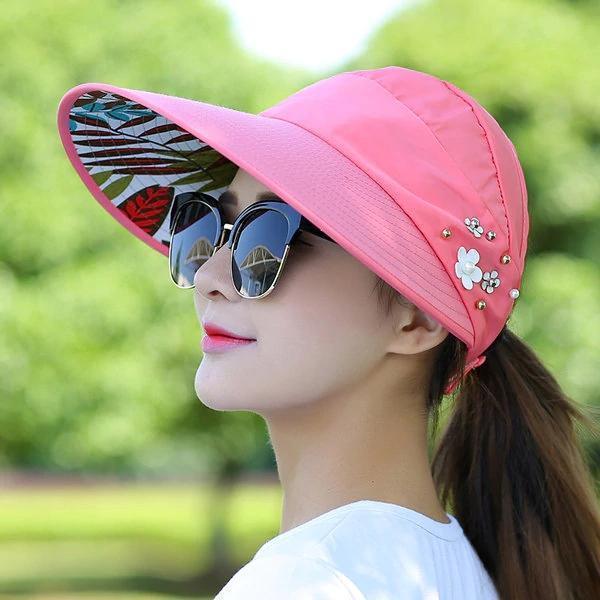 Women Summer Outdoor Gardening Anti-UV Foldable Beach Sunscreen Sun Hat Flower Print Cap