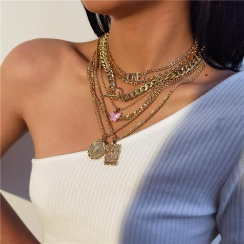 7PCS Honey Butterfly Pendant Studded Charm Necklace
