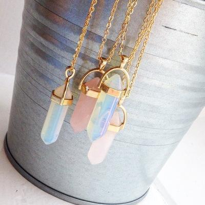 Jewelry-Stylish Natural Crystal Stone Pendant Necklace