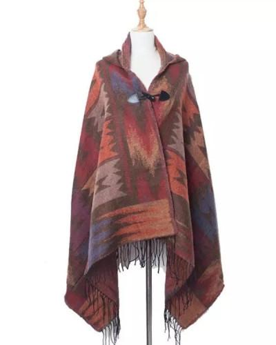 Women Winter Warm  Scarf New Designer Plaid Hood Hat Scarf Shawls Scarves Wraps