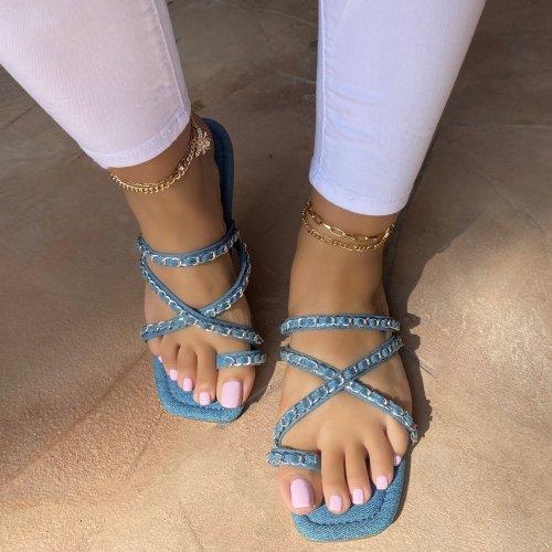 Toe Ring Chain Scrunchie Closure Sandals