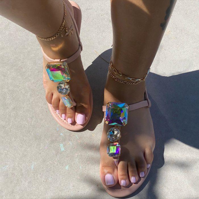 Diamond Dazzle Bow Flat Sandal