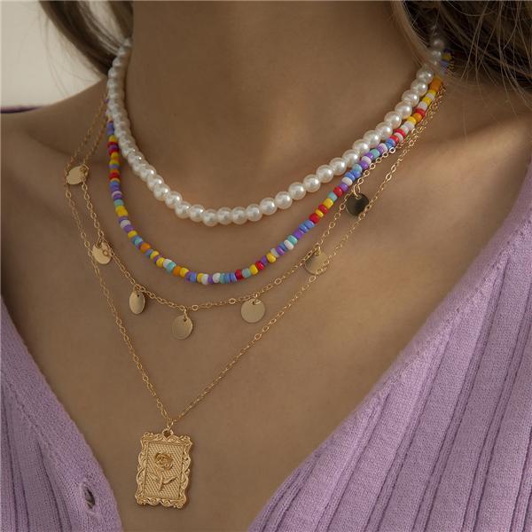 Bohemian Multi-layer Color Vintage Pearl Necklace