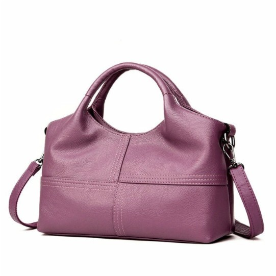 Women Soft Leather Handbags Stitching Solid Large Capacity Shoulder Bags