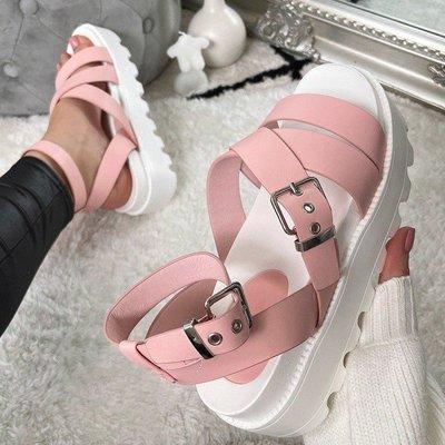Across Tape  Wedge Heel Buckle Sandals