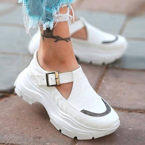 Stylish Platform Buckle Sneakers