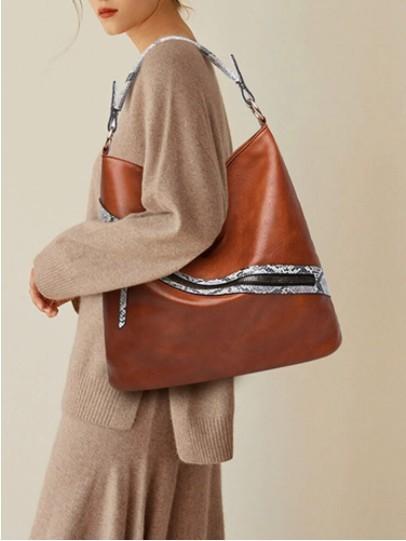 Vintage Snake Pattern Stylish Zipper Handbag Large Capacity Comfy Handle All-match Tote