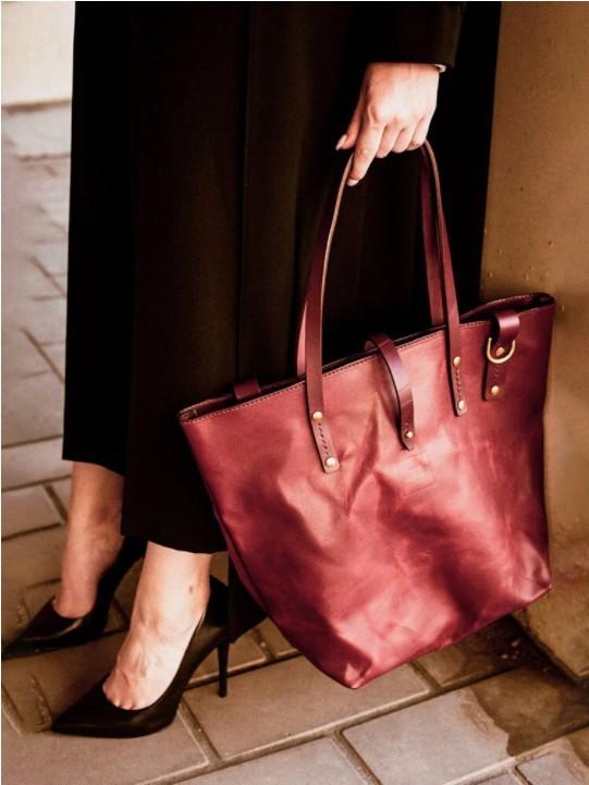 Vintage Rivet Stitch Detail Tote Pocket Front Clear Fabric Business Handbag