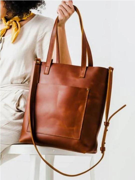 Vintage Soild Pocket Front Detachable Shoulder Strap Shoulder Bag Tote