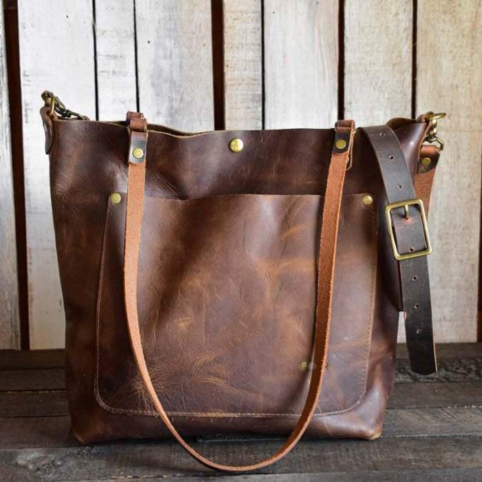 Vintage Rivet Stitch Detail Tote Double Side Pockets Shoulder Bag