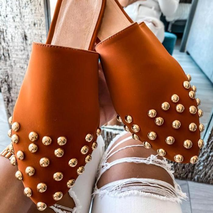 Fashion Closed Pointed Toe Rivet Flat Slippers