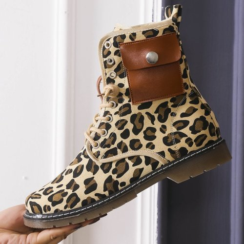 Women's Suede Flat Heel Boots Ankle Boots With Rivet Animal Print Lace shoes