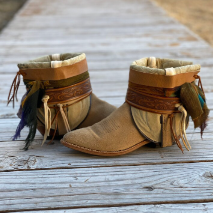 Womens Wide Square Toe Booties