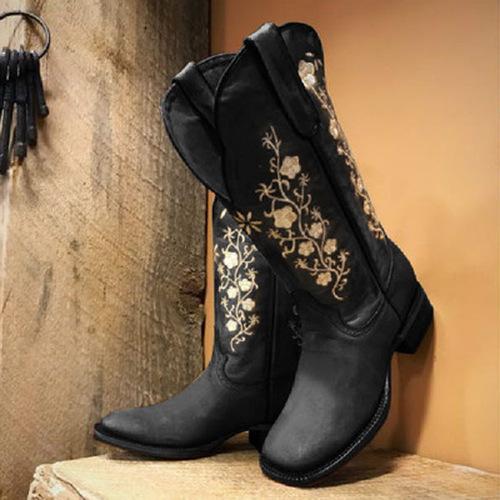Women Winter Vintage Flower Printed Boots