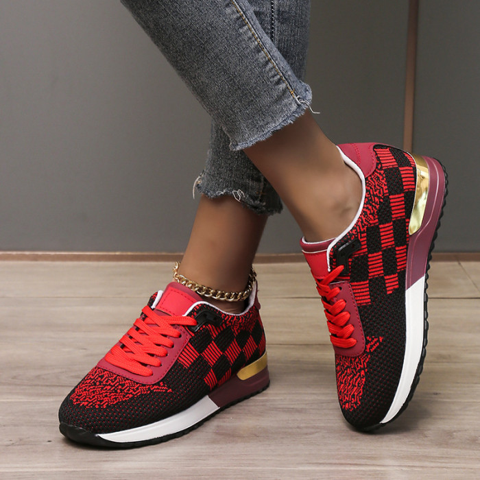 Mesh sequined platform lace-up casual sneakers