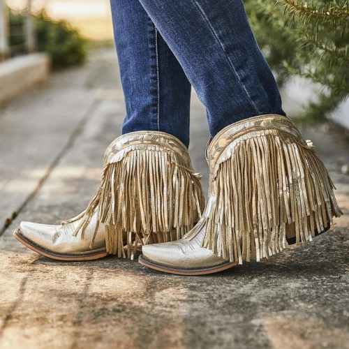 Women Pointed Toe Tassel Booties
