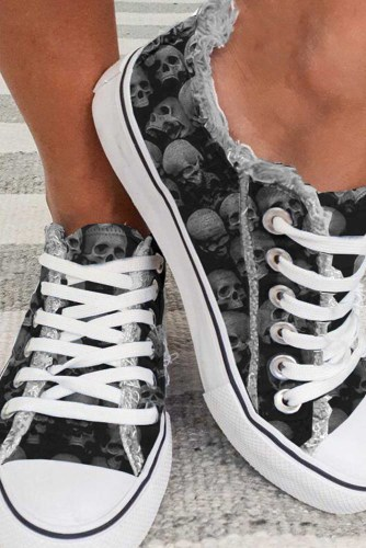 Women's Sneakers Skull Print Lace-up Canvas Sneakers