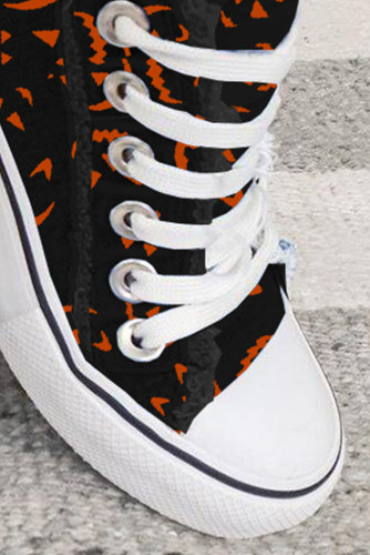 Women's Sneakers Halloween Face Print Lace-up Canvas Sneakers