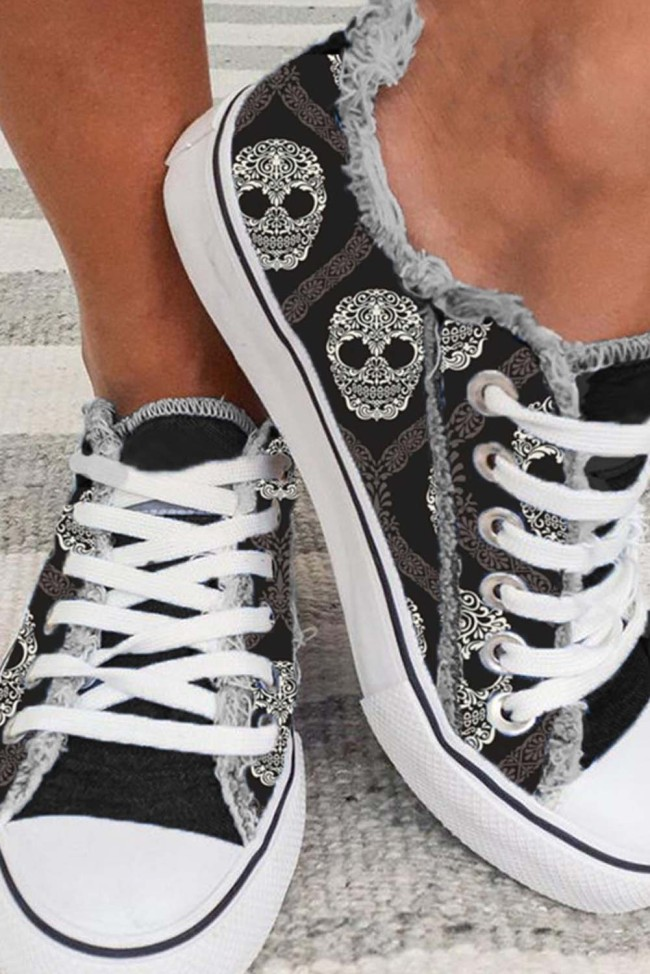 Women's Sneakers Skull Print Canvas Lace-up Sneakers