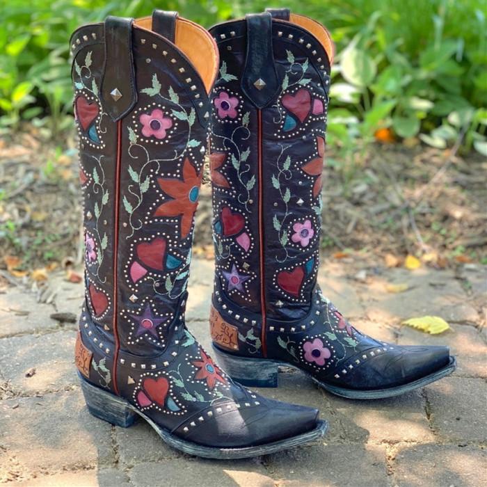 Women Cowgirl Flower Pattern Boots