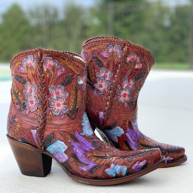 Women Cowgirl Flower Pattern Booties
