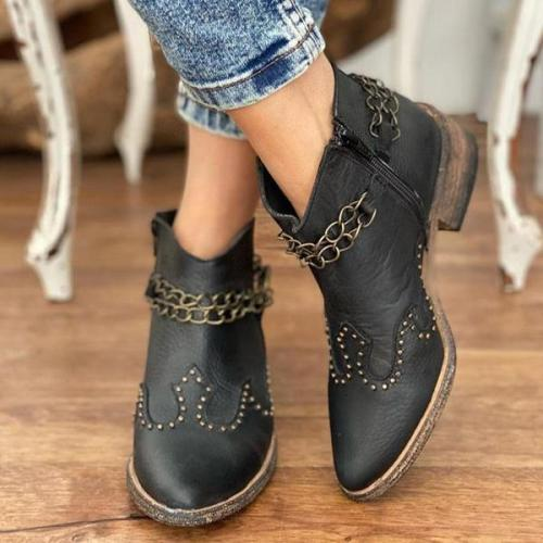 Women Simple Crown Pattern Ankle Boots