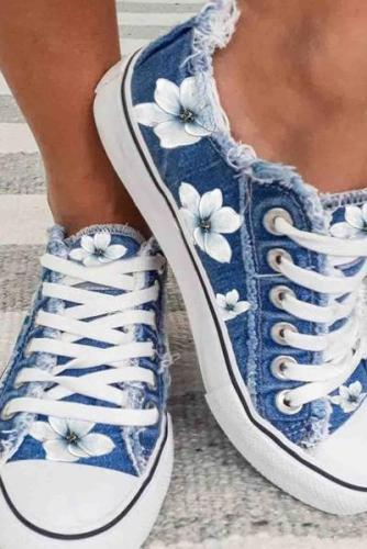 Women's Sneakers Flower Print Canvas Lace-up Sneakers