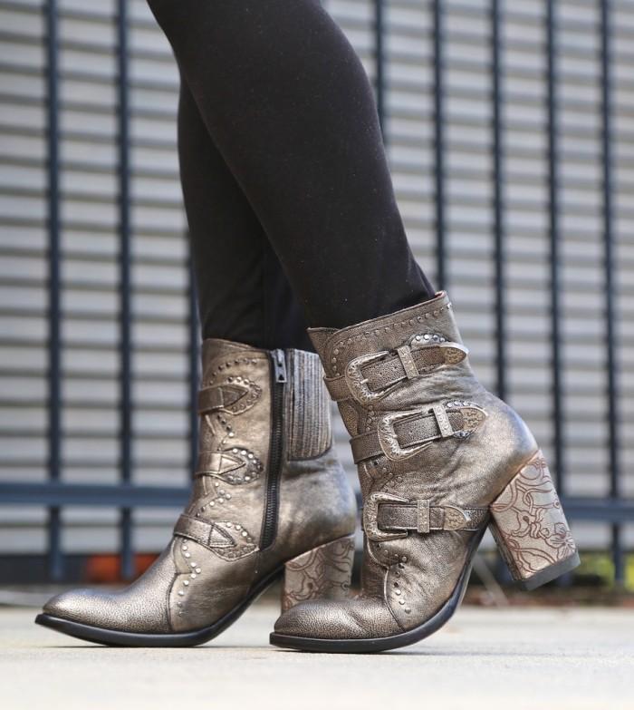 Women Metallic Gold Heel Boots