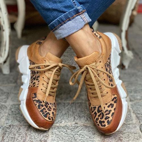 Women Leopard Print Colorblock Sneakers