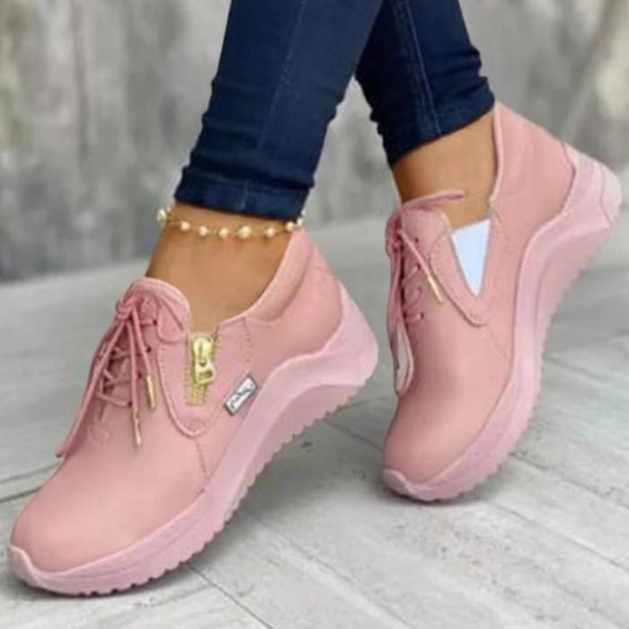 Women Zipper Lace-up Slip On Casual Sneakers