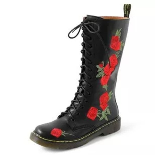 Womens Lacing Flower Pattern Boots