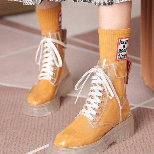 Women Transparent soled Martin boots