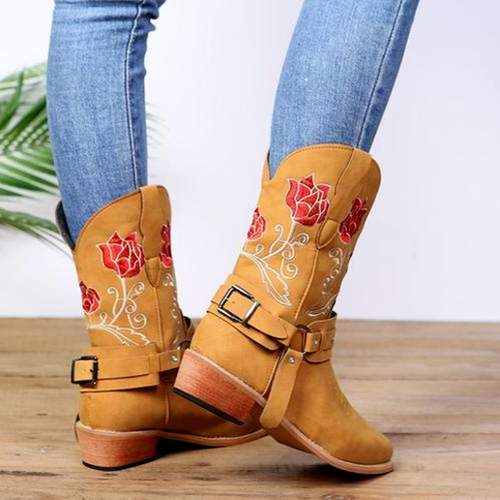 Embroidered Ethnic Flower Boots