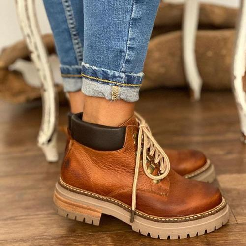 Women Vintage Lace-Up Martin Boots