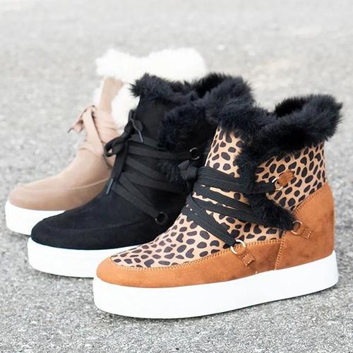 Round Toe Frayed Snow Boots