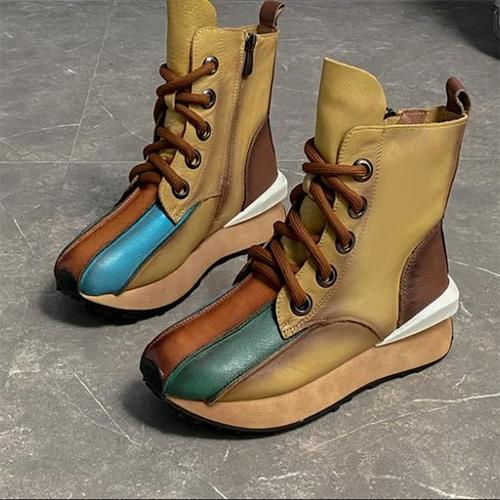 Women's Retro Color Matching Boots